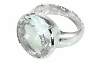 Ring mit Bergkristall facettiert transparent